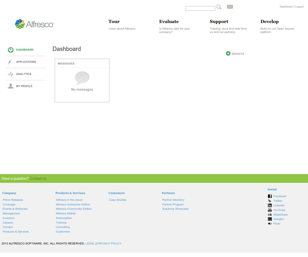 On the Alfresco dashboard click on Applications