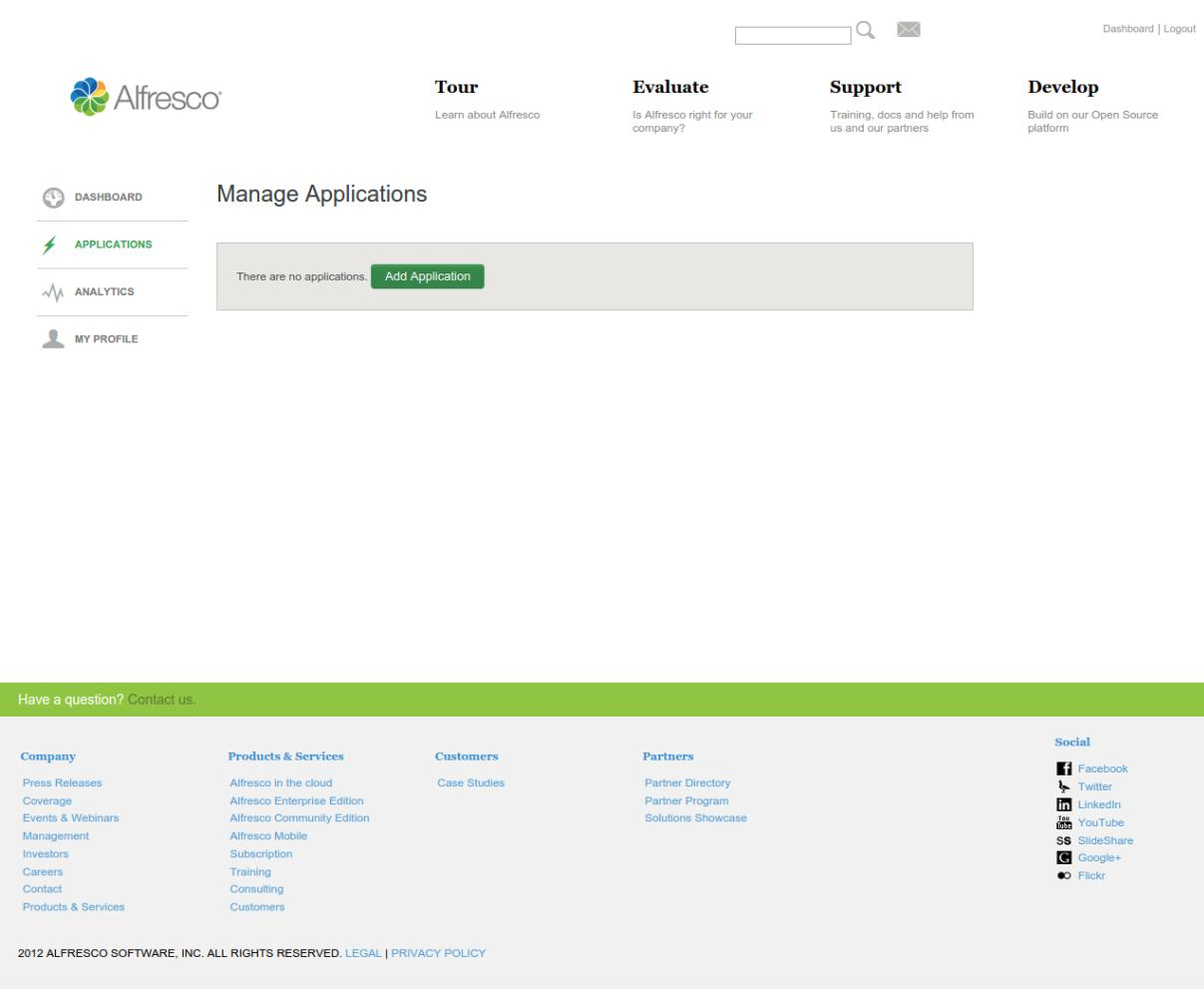 Click on the add application button to create an Alfresco application