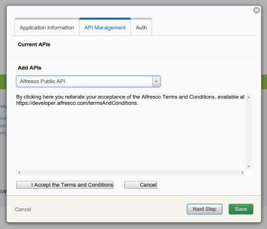 Select Alfresco Public API and agree to the terms and conditions