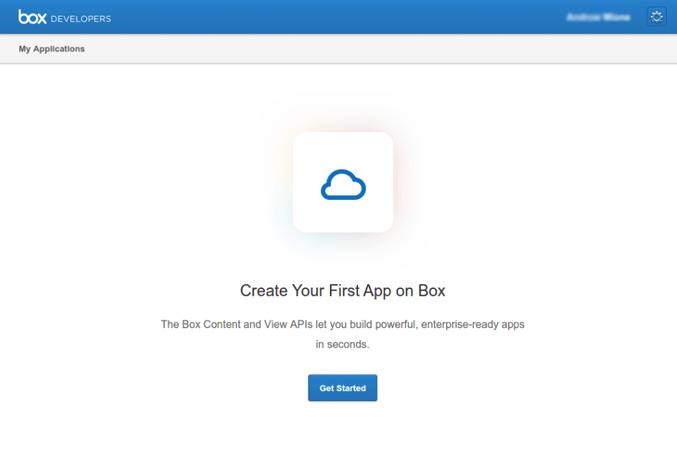 Click create a box application