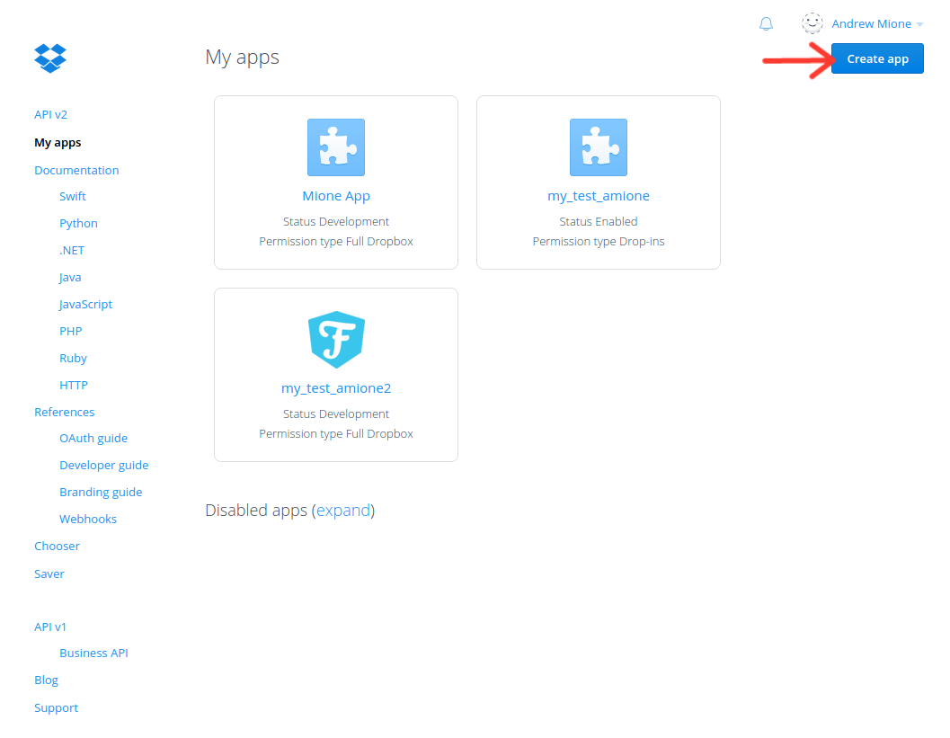 Click Create App on the dropbox page