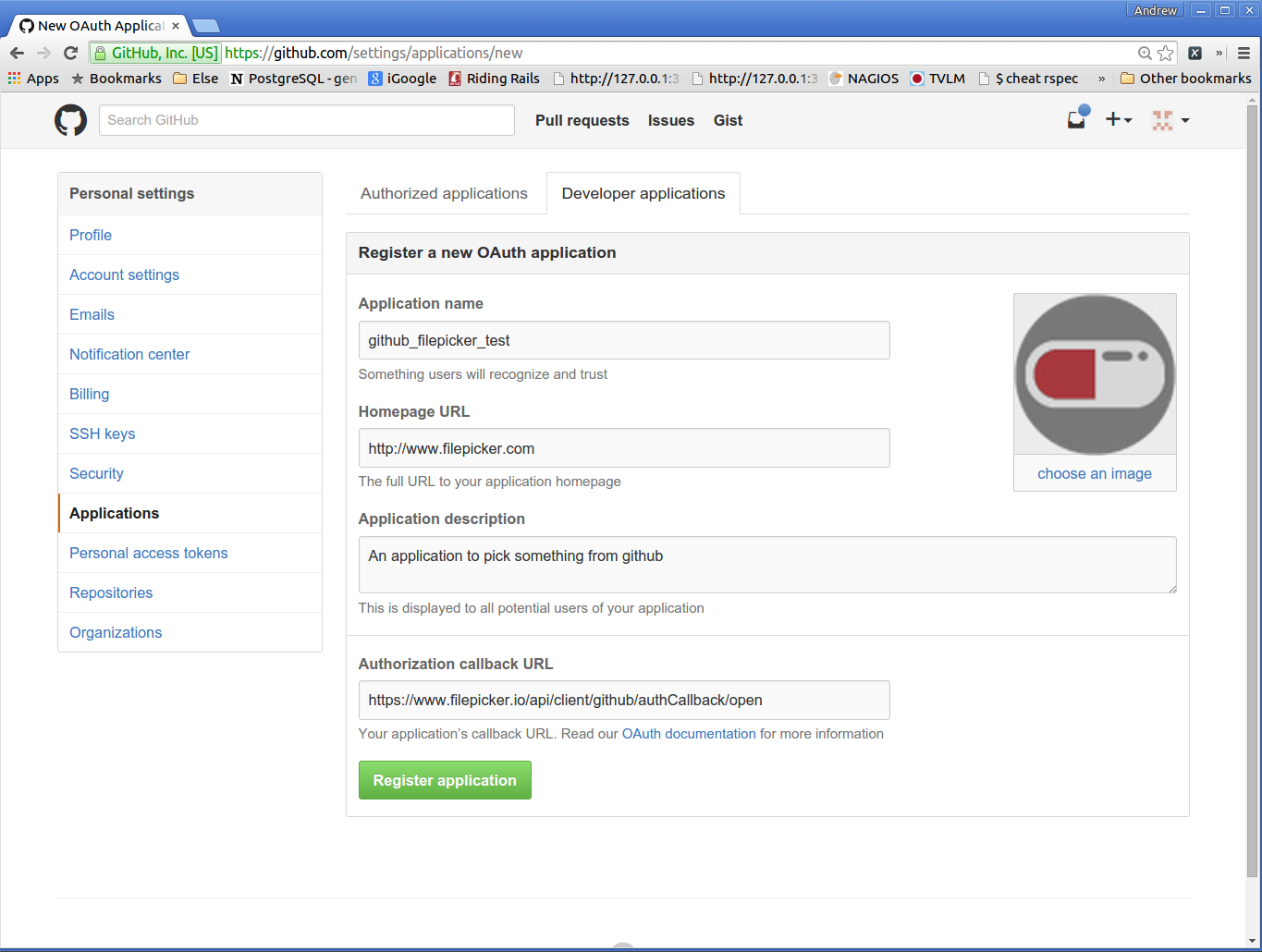 Sign into GitHub, fill out the required information and click Register the application