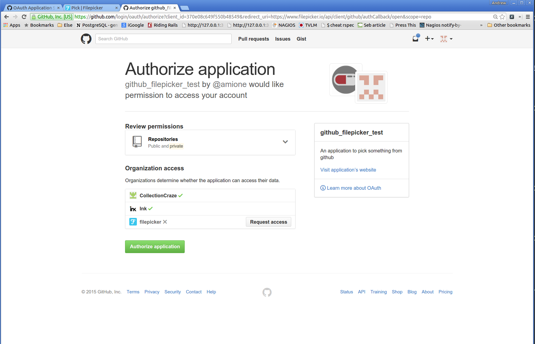 authorize the connection request for your new application