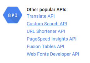 click the link for Custom Search API