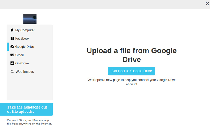 Click connect to Google Drive in the Filestack dialog