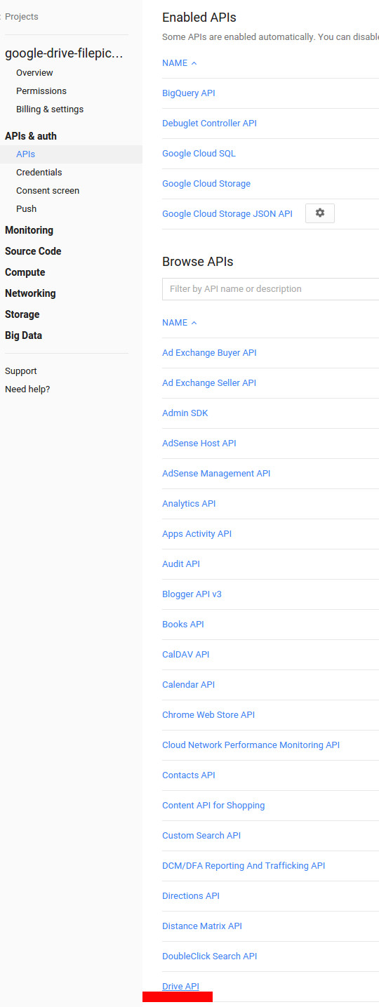 Find the Drive API link and click on it