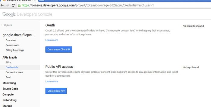 select Create new Cient ID under Oauth