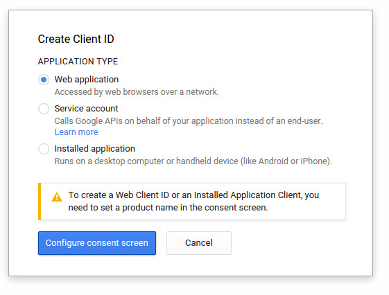 select Web Application and click on Configure Consent Screen