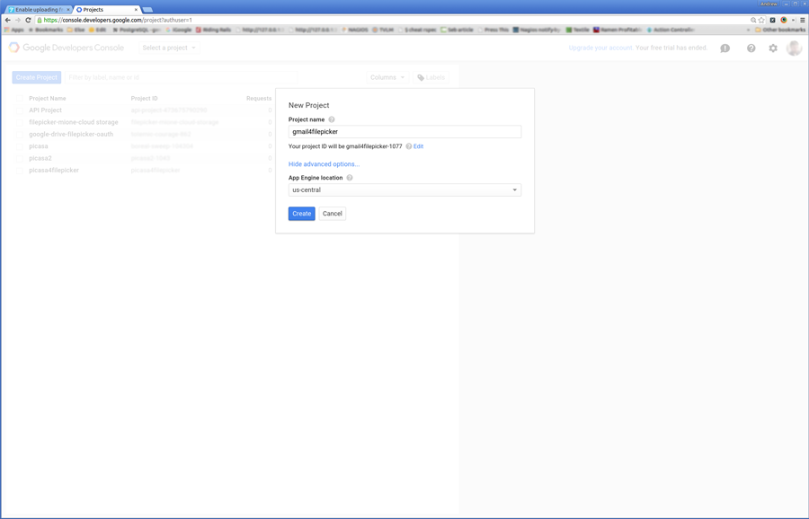 create a new project in your google account