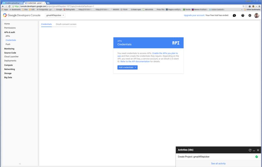 click Credentials under Apis and auth