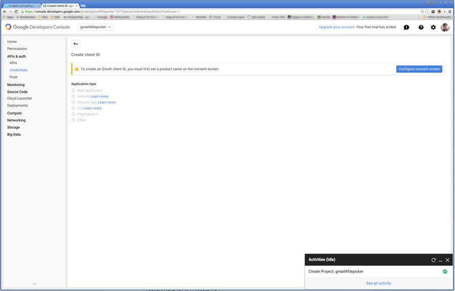 click Configure consent screen