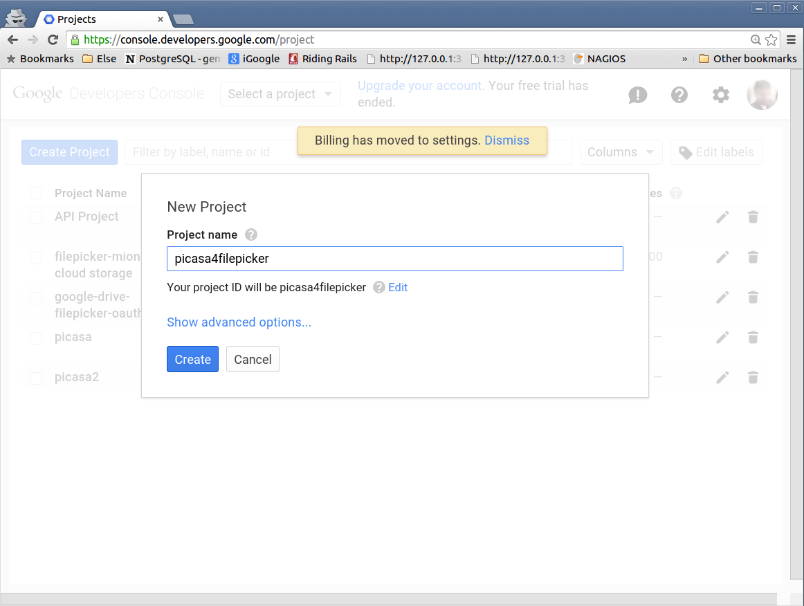 Create a new project in your google developers account