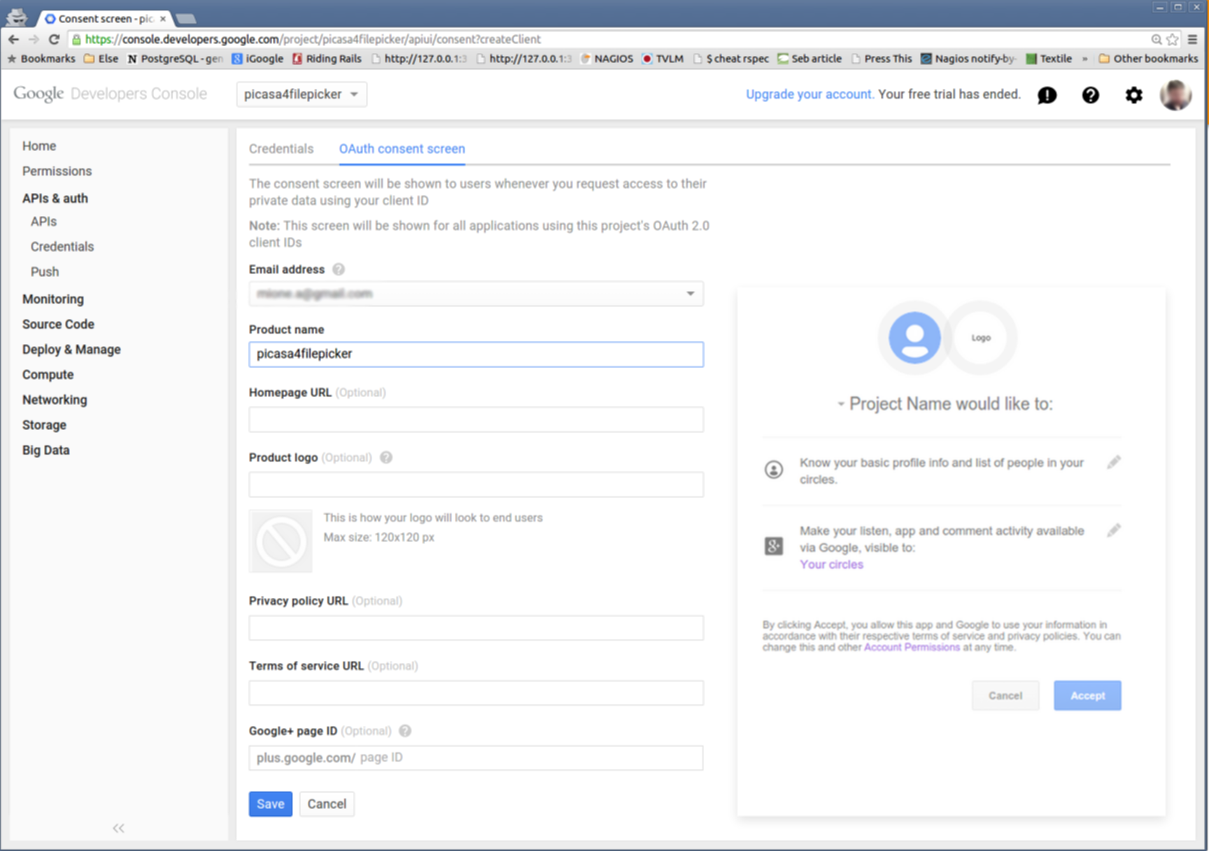 Configure the consent screen for the Picasa application