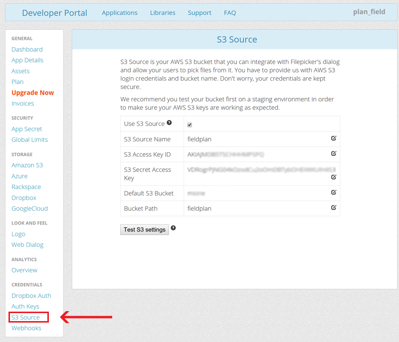 Go to the S3 Source section under credentials in the Filestack developer portal