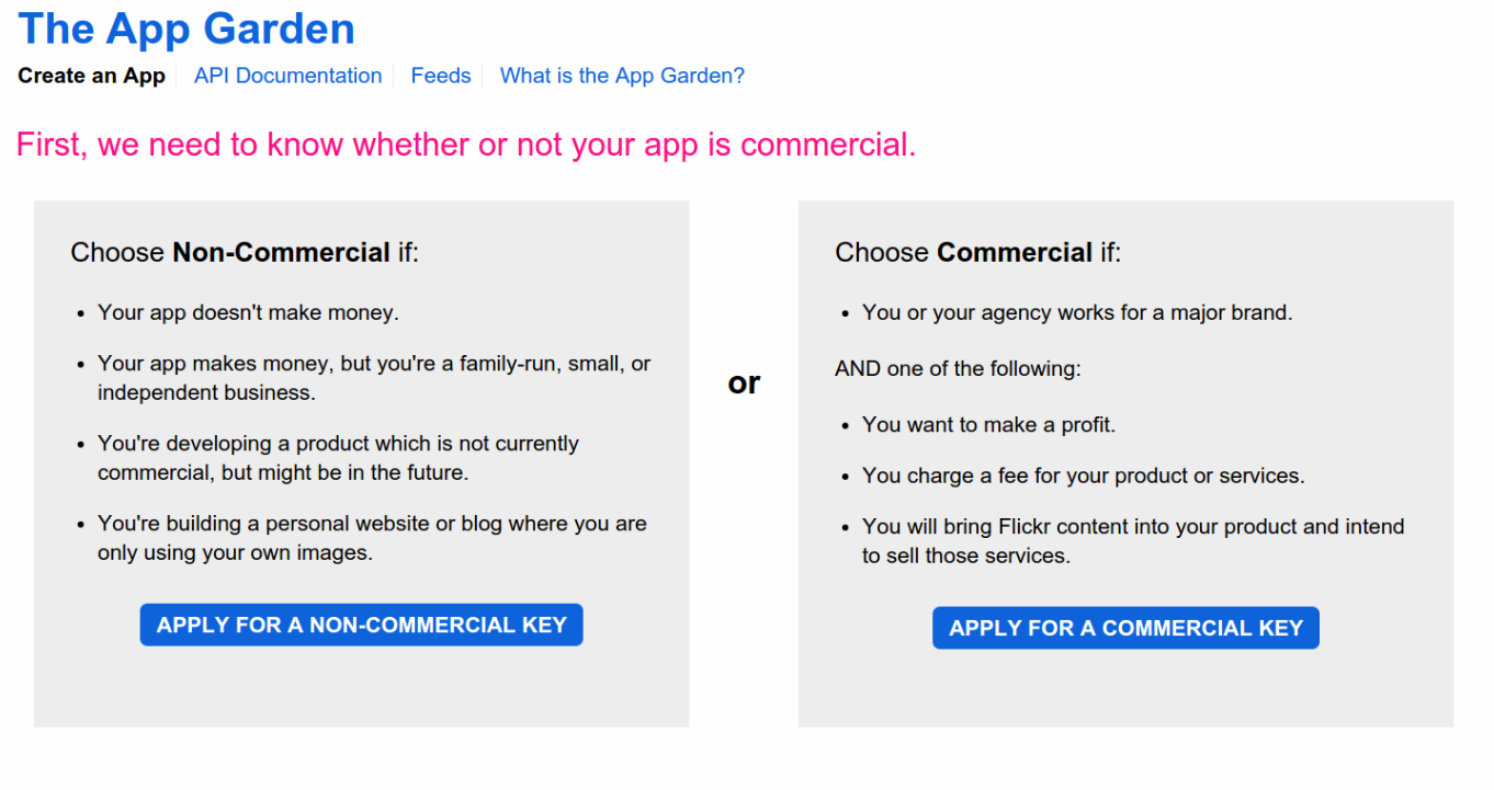 Choose commercial or non-commercial for your API key